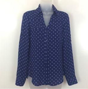 Express Portofino Shirt Blue Anchor Print XS